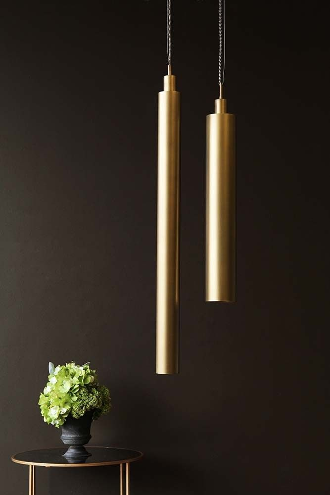 Antique brass cylinder pendant lamp from rockett st george