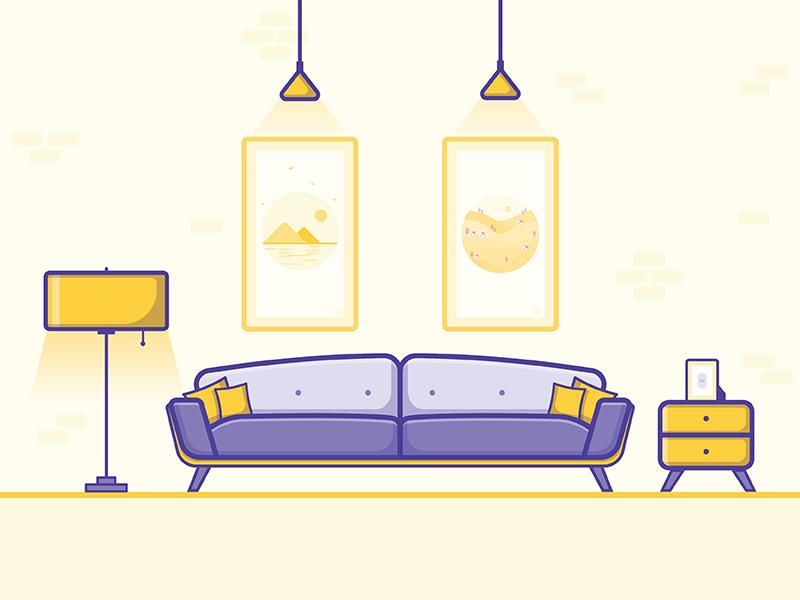 Living Room Flat Design Illustration Living Room Vector Interior Illustration