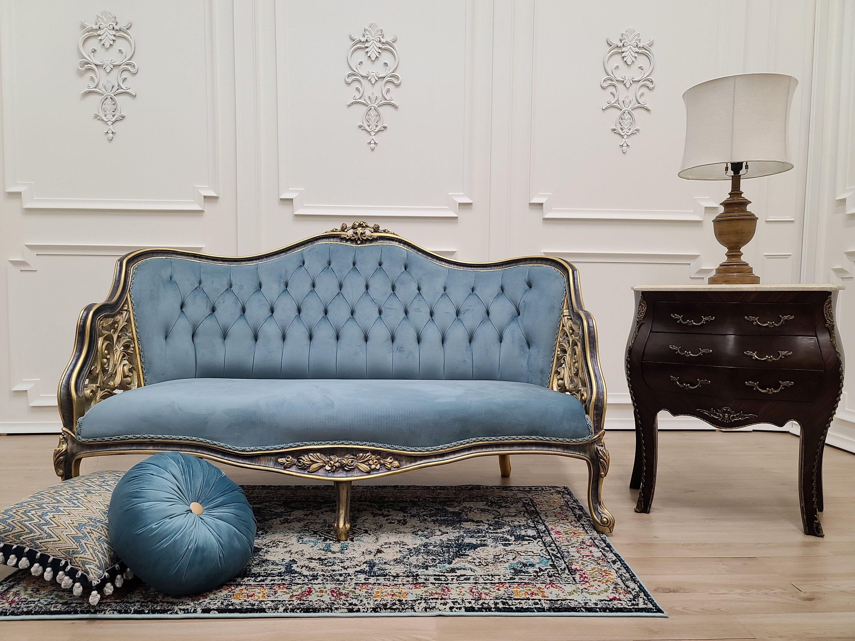 French Loveseat Hand Carved Sides Vintage Gold Leaf Finish Tufted Blue Velvet Upholstered In 2020 Love Seat Blue Velvet Home Living