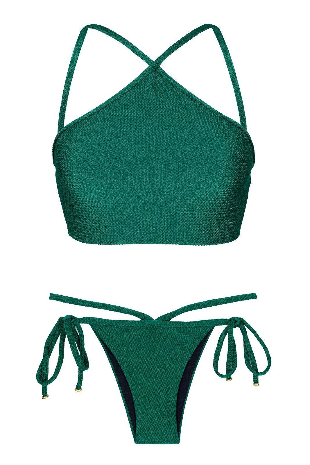 7a4db1f7f0b ... de Sol Brazilian Bikinis by Rio Swim Shop Swimwear. Duna Green Cropped  Neck