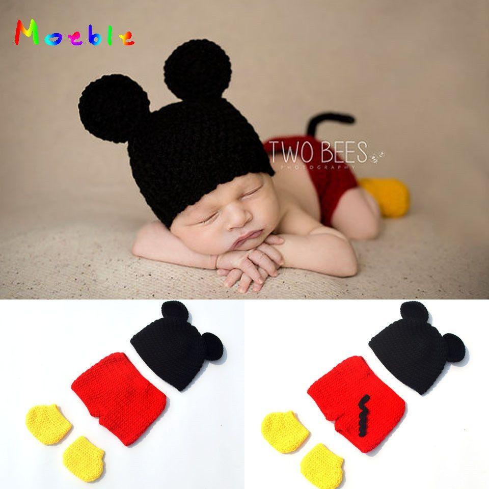 4013f8bcf4e97 Baby Boy Cartoon Mickey Photo Props New Style Baby Crochet ...