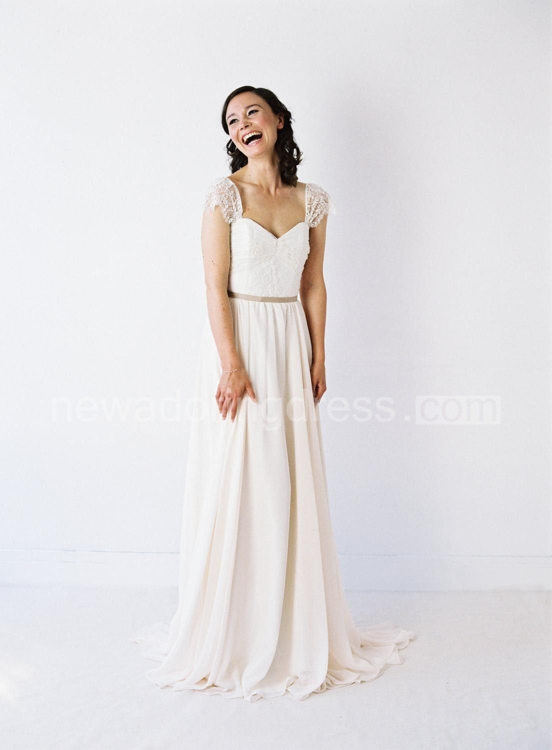 Chiffon wedding dresses  TwoToned Sweetheart Neck Pleated Chiffon Wedding Dress With