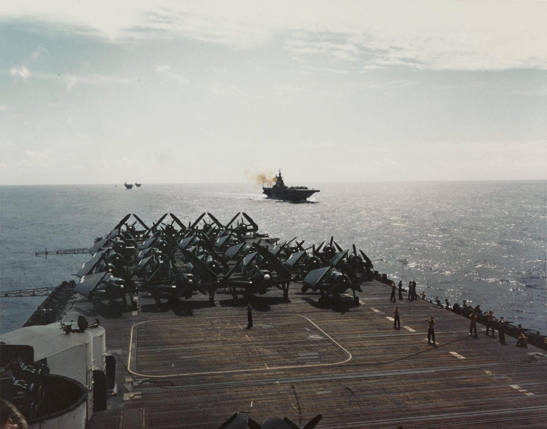 Tbm And Sb2c Aircraft Parked At The Aft Deck Of Uss Hornet Cv 12 June 1945 Uss Hornet Uss Hornet Cv 12 Uss San Jacinto