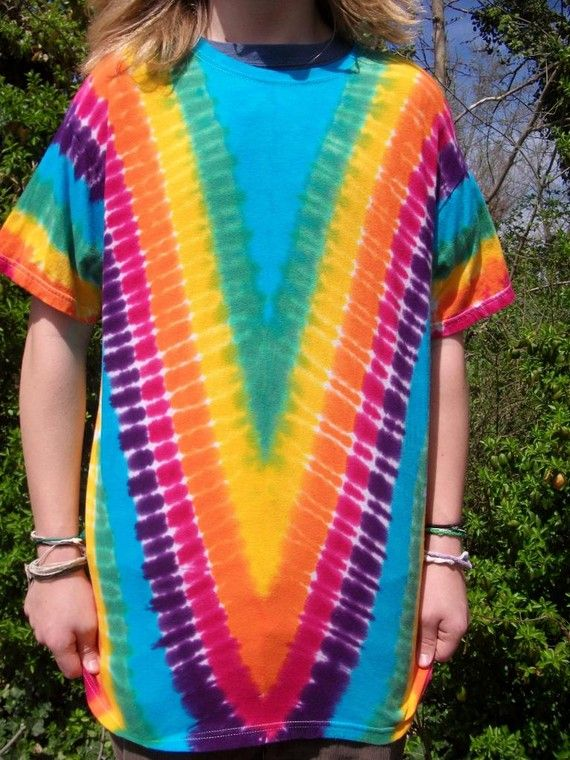 4839787cd96 Rainbow Tie Dye V Fold Tee Shirt Adult S to 4XL par upanddyed