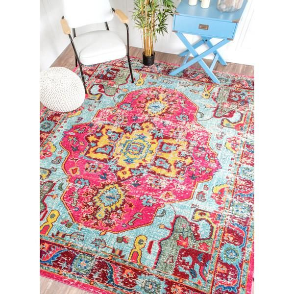 The Luella Boho Pink Pattern Area Rug 8 X 11