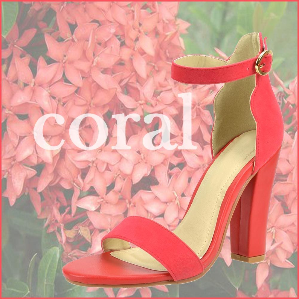 Summer-Color CORAL~ @ www.FABrebel.com #coral #shoe #heels #sandal #chunkyheels #anklestraps #trendy  #minimalist #summerfashion #fashionfinds #shoesfashion #perfectpair #fabrebel