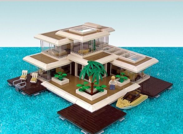Really Cool I Love Modern Houses And The Tiling Really Adds A Nice Touch Lego Beach Lego Creations Lego House