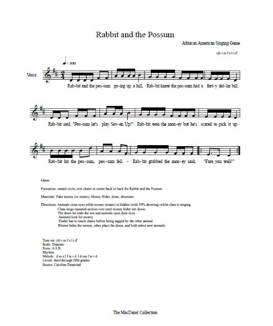 Rabbit And Possum Song Camp Songs Elementary Music Music Lessons