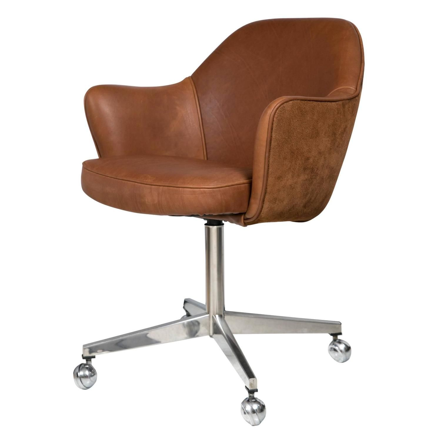 Knoll Desk Chair In Saddle Leather And Suede 1 Qty 1 Pc