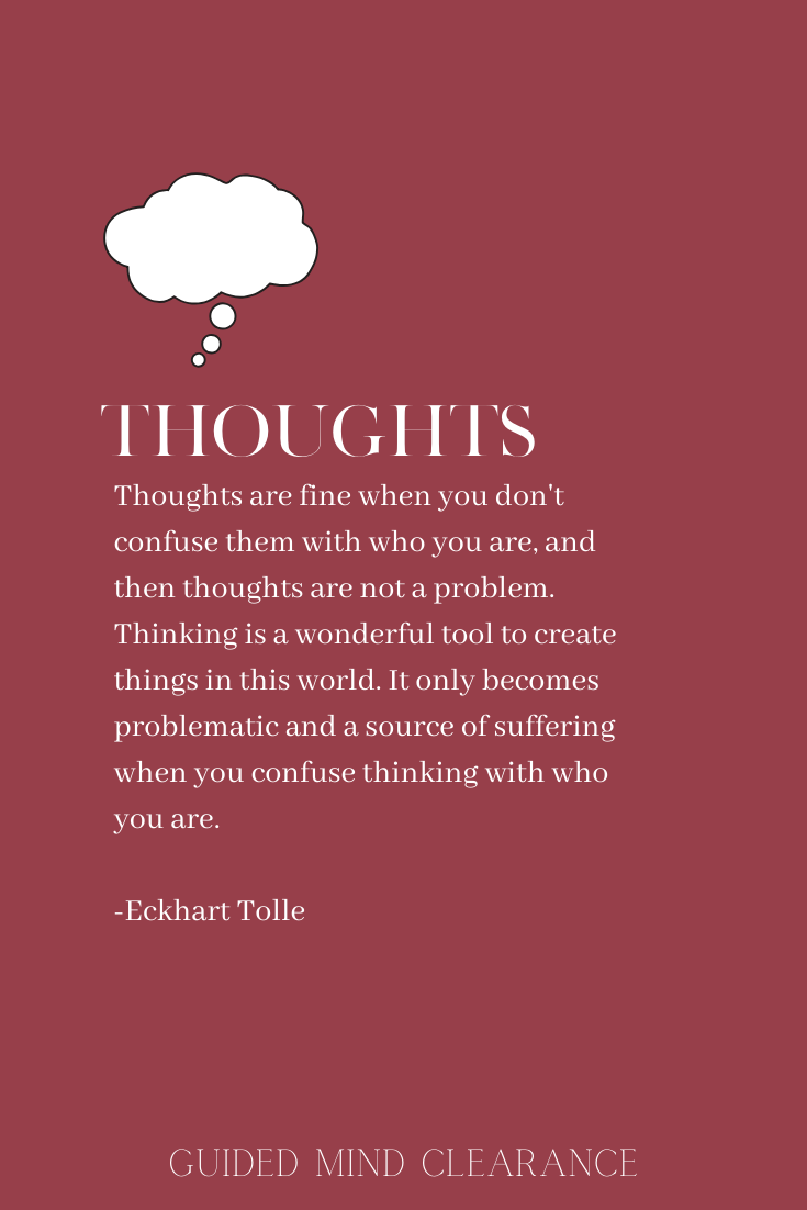 Thoughts: An insightful quote from Eckhart tolle. Cool poster from Guided Mind Clearance