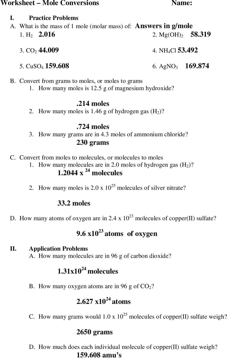Moles Molecules And Grams Worksheet Answer Key Pdf Literal Equations Super Teacher Worksheets Simplifying Rational Expressions