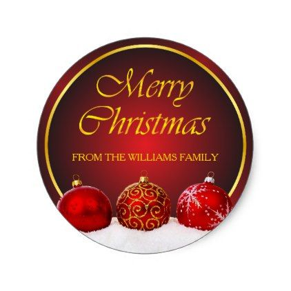Red  Gold Holly Baubles Christmas Classic Round Sticker - new years