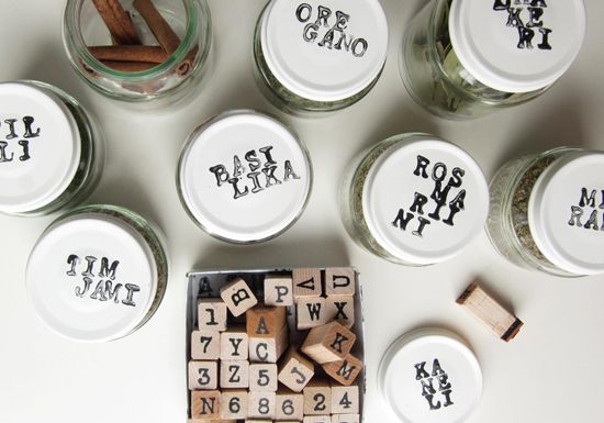 Spice jars.....super cute ! get the magnet ones and hang on inside of a cabinet :)