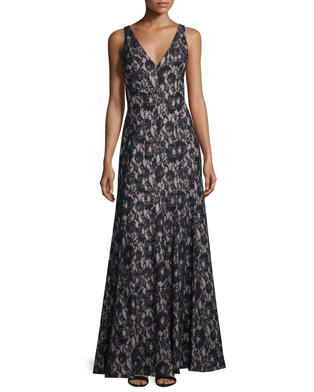 Sleeveless Lace Mermaid Gown, Size: 8, Black/Nude - Aidan by Aidan ...