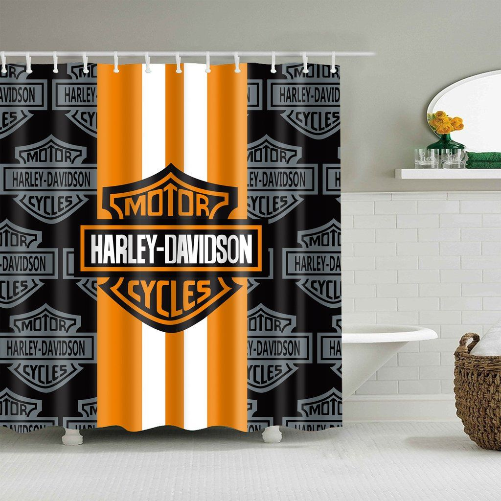 Black Symbol With Orange Harley Davidson Shower Curtain Harley
