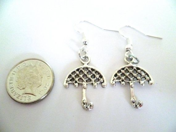Umbrella hook earrings, dangly umbrella earrings, silver rainy day earrings, Mothers day gift, unique jewellery