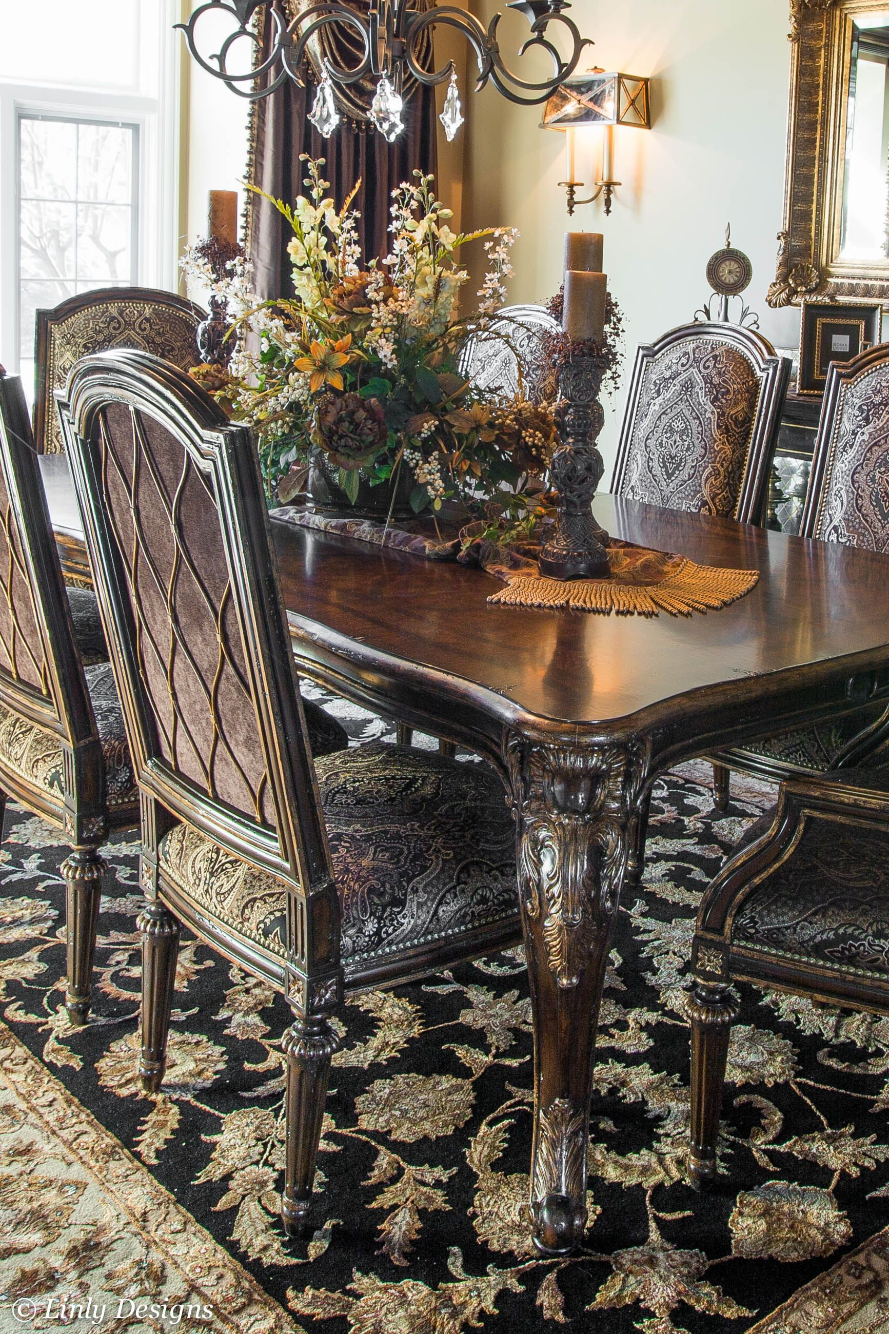 Dining table chairs med mediterranean tuscan old for Formal dining room table decorating ideas