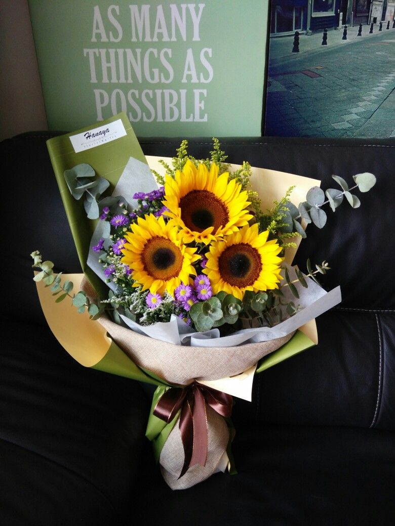 Rustic sunflower bouquet graduation hanayabyzen