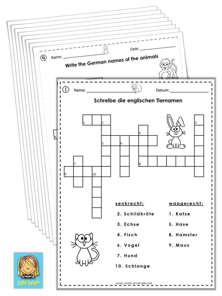 German/English Crossword Puzzles Tiere/Animals | Pinterest | German ...