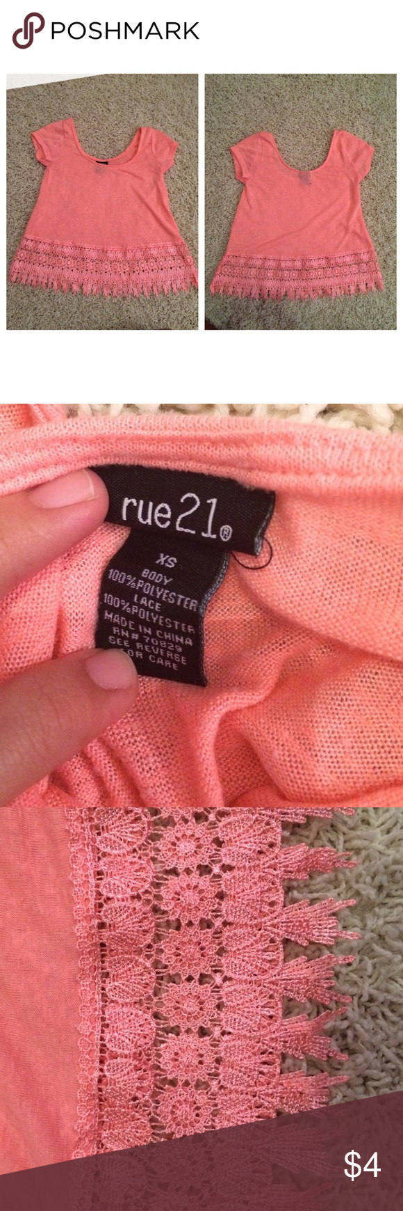 Rue21 shirt Worn once. Need gone ASAP. Size small and its stretchy. Rue 21 Tops Crop Tops