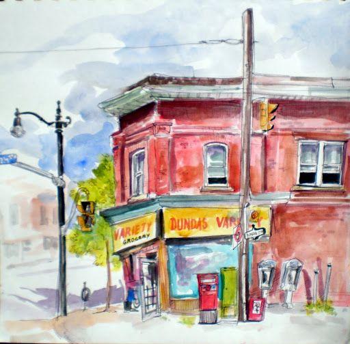 variety store, corner of Dundas St. and Clendenan Ave. Toronto.  Plein Air watercolour sketch.