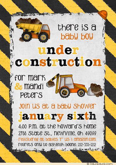 Under Construction Baby Shower Invitation Boy Dump Trucks Bulldozers Construction Baby Shower Baby Shower Invitations For Boys Baby Shower Invitations