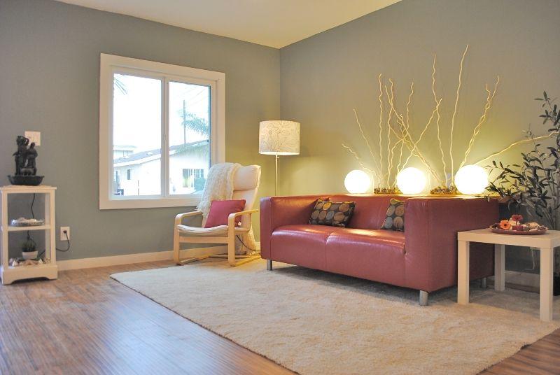 Living room with sage walls, light burgundy sofa, dappled throw ...