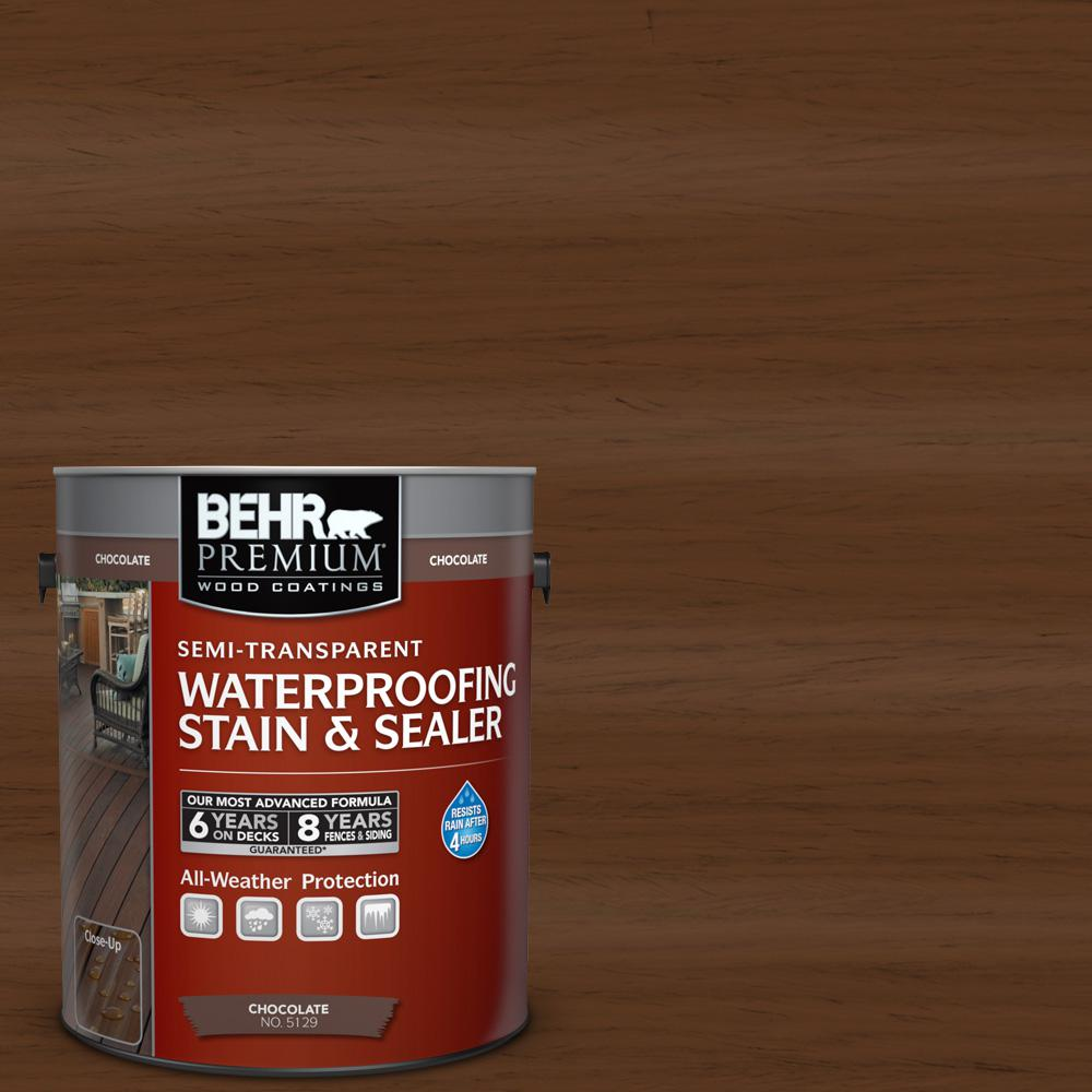 Behr Premium 1 Gal St 129 Chocolate Semi Transparent Waterproofing Exterior Wood Stain And Sealer 512901 Th Exterior Wood Stain Staining Wood Staining Deck