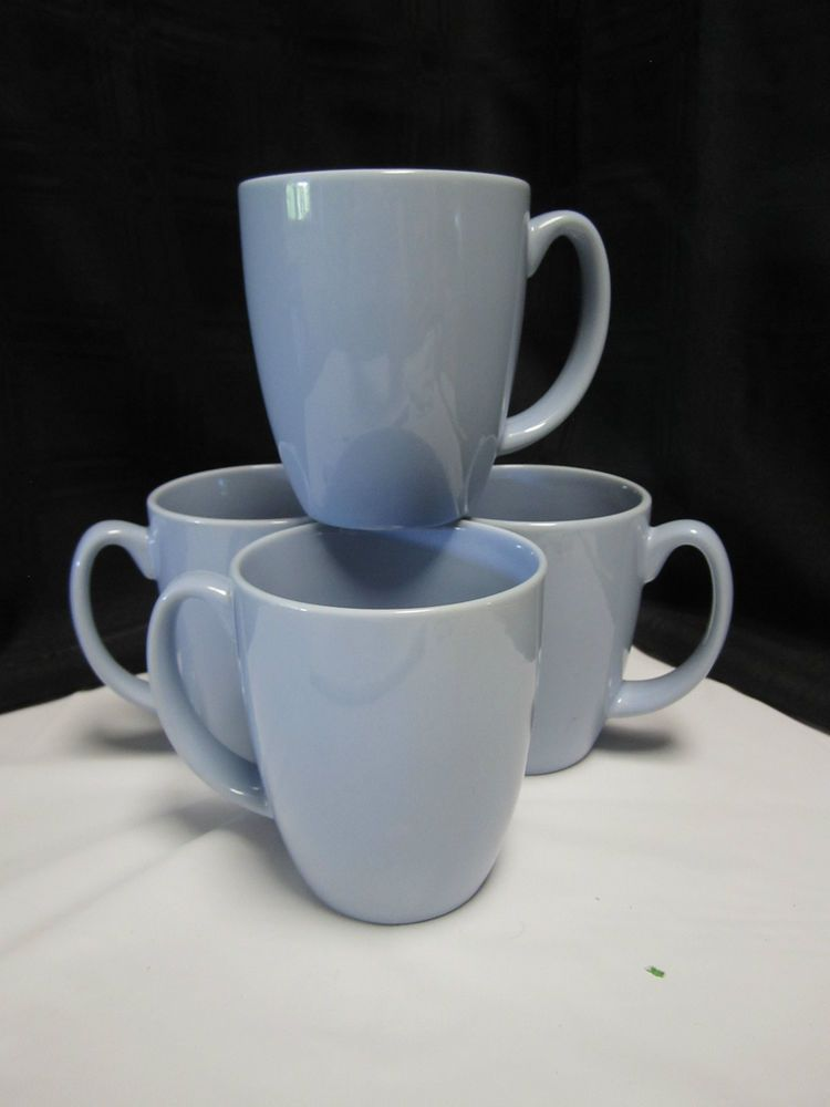 Corelle Stoneware Country Cottage Light Blue Coffee Mugs Set Of 4 Tea Cups Corellestoneware