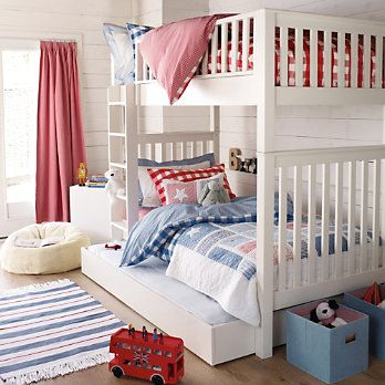 Buy The Little White Company > New Arrivals > Stars & Stripes Patchwork Quilt & Cushion from The White Company