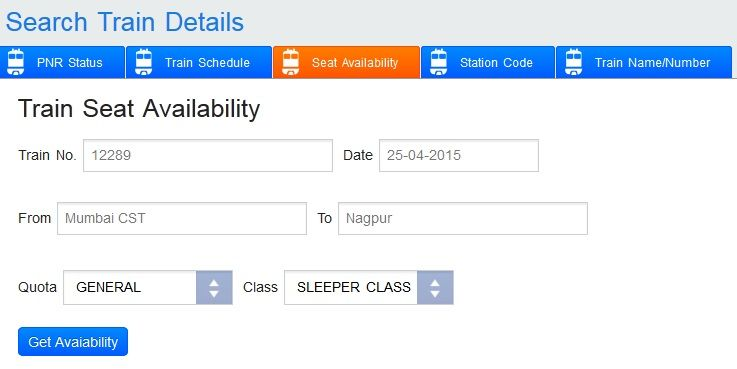 online railway ticket seat availability