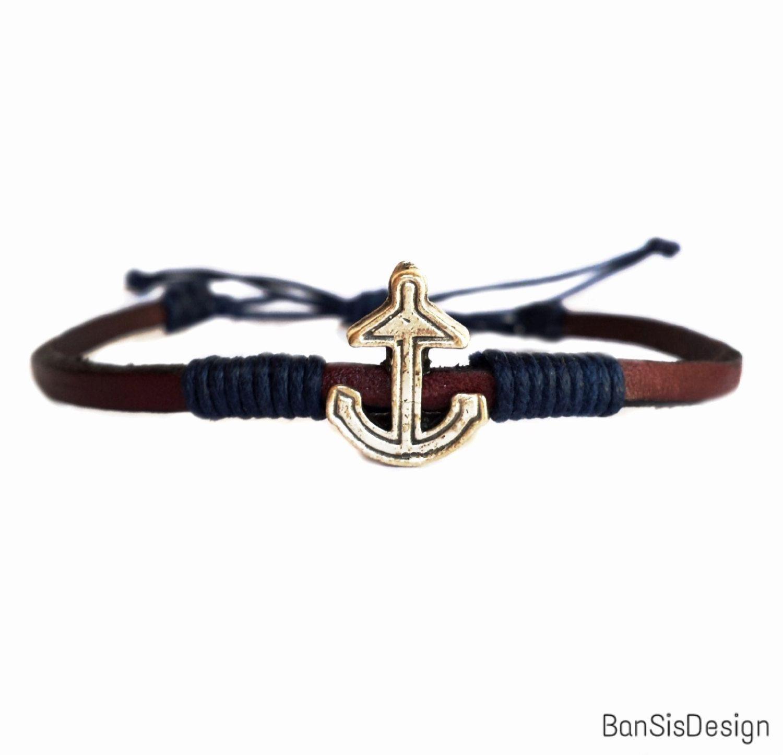 Anchor cuff gold ii cord bracelets leather bracelets and bracelets