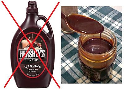 Homemade Chocolate Syrup (just cocoa powder, sugar, vanilla, water and salt)...yippee for no High Fructose Corn Syrup! Just ran out of Hershey's syrup, perhaps I should try this.