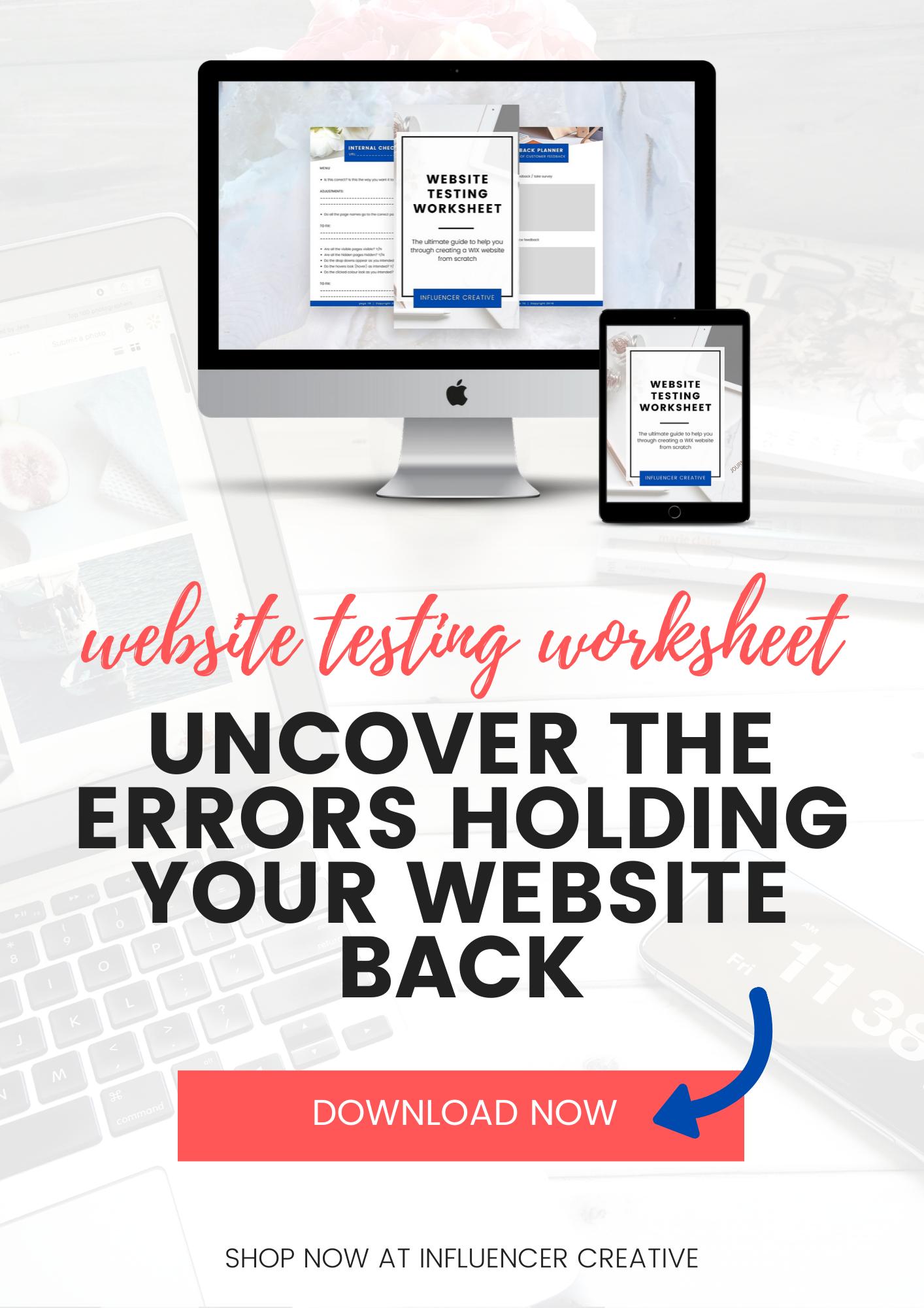 Website Testing Worksheet