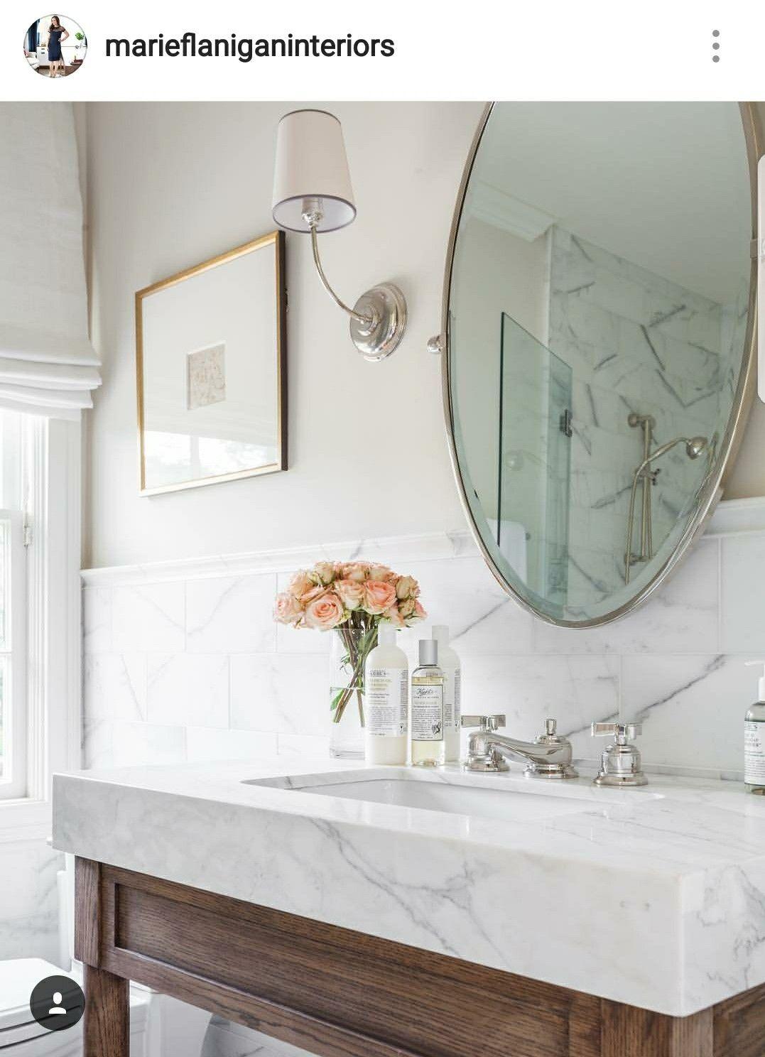 Tile Halfway Up The Wall Farmhouse Bathroom Decor Bathroom Design Bathroom Interior
