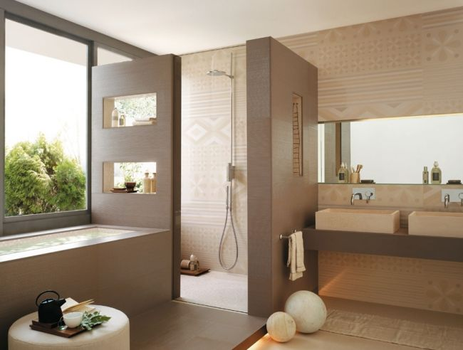 badgestaltungsideen fliesen beige dekorative muster badewanne ... - Bad Einrichten Beige