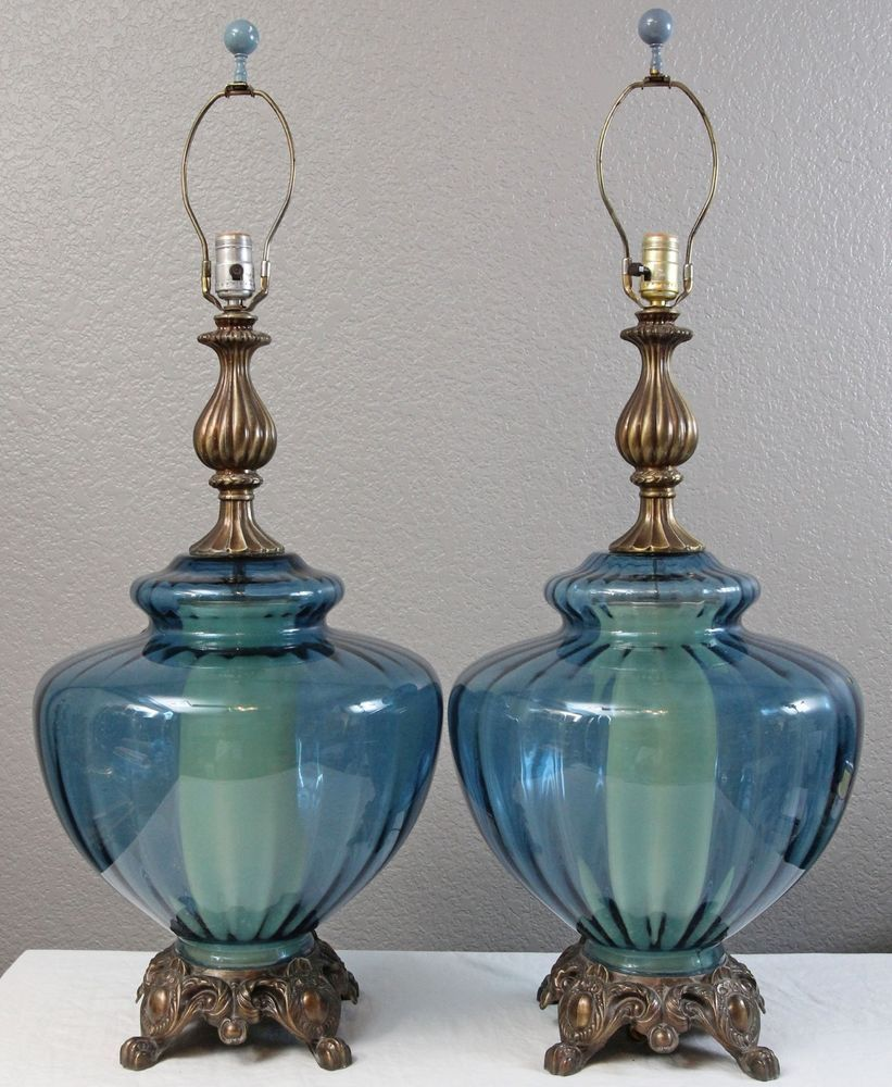 Vintage glass table lamps - Large 14 Wide Aqua Blue Glass Swag Table Lamp Pair Vintage Retro Clawfoot Base