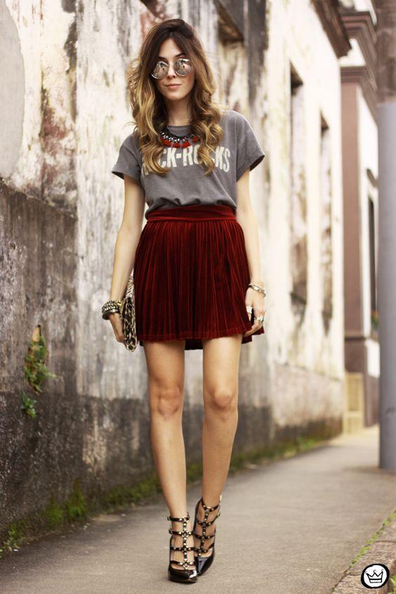 d23cbab5e 5 Stylish Velvet Outfit Ideas   falda   Ropa de moda, Ropa y Outfits ...