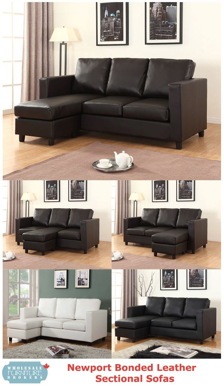 Newport Bonded Leather Sectional With Chaise By Urban Cali At