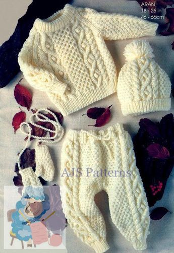 7074c5c03 PDF Knitting Pattern for a Baby Childs Outdoor Set - Aran Sweater ...