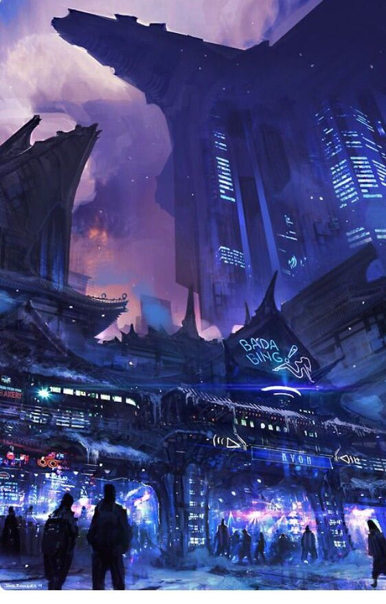 I hate tropes, and so do a lot of cyberpunk fans, but this is too pretty not to upload (by Anonymous artist)