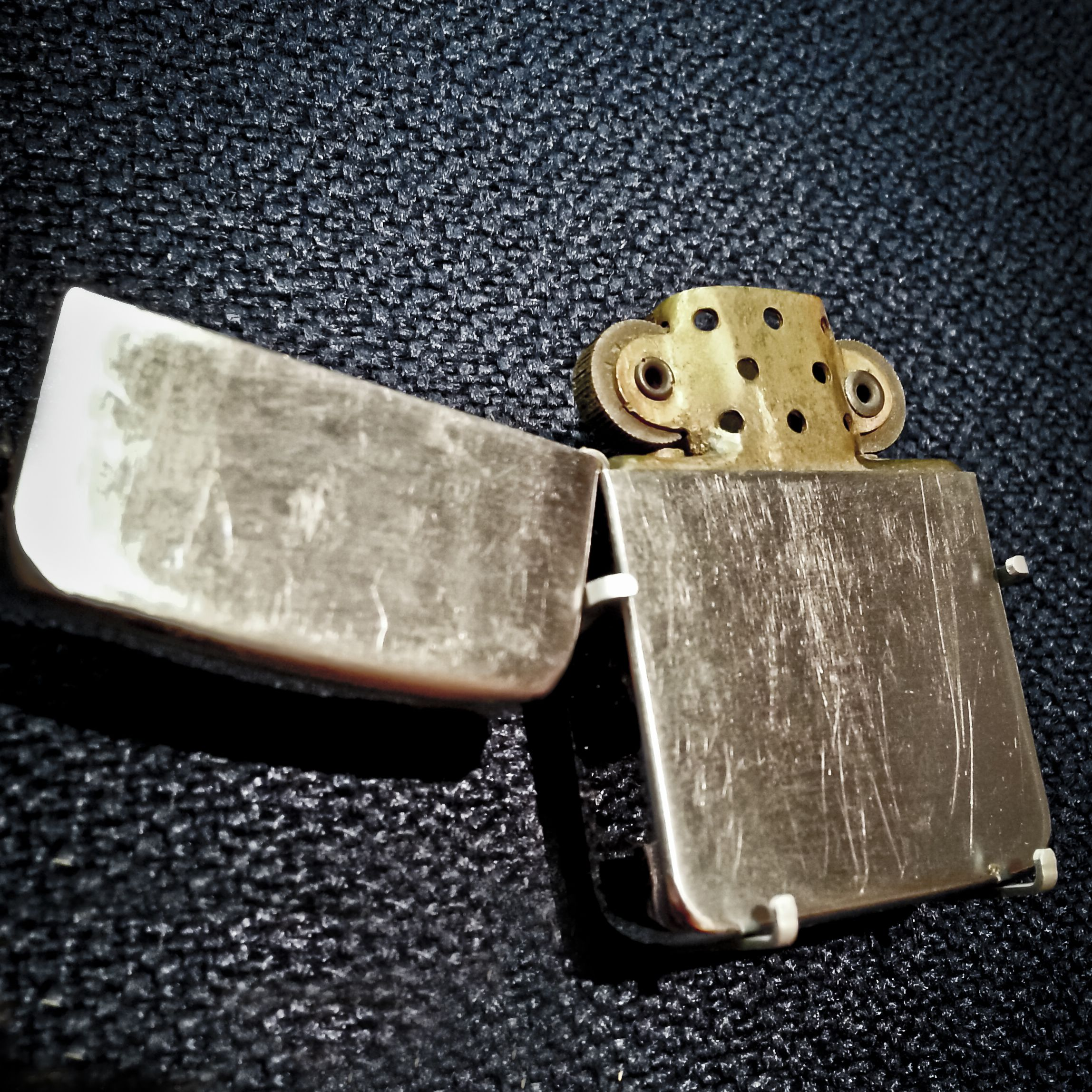 World Map Zippo Lighter. Lighter Prototype Zippo lighter with two flint wheels  Currently located