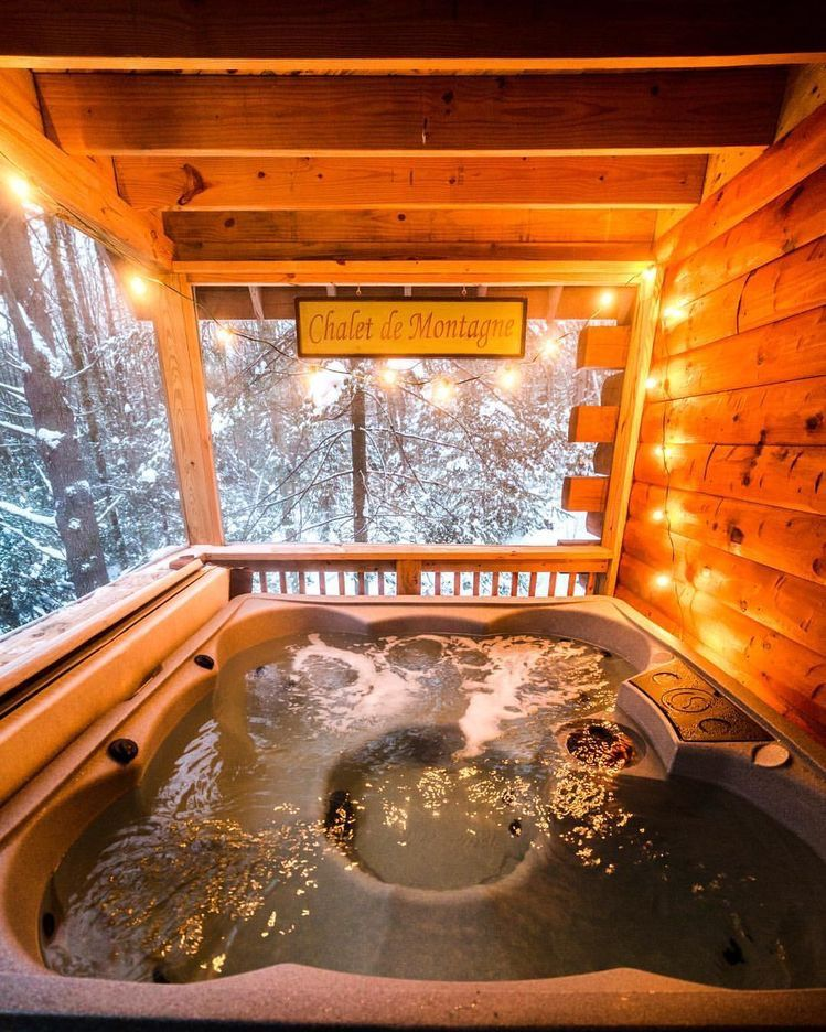 Pin By Leslie Ogilvie On Autumn Cabin Hot Tub Cabin Homes House