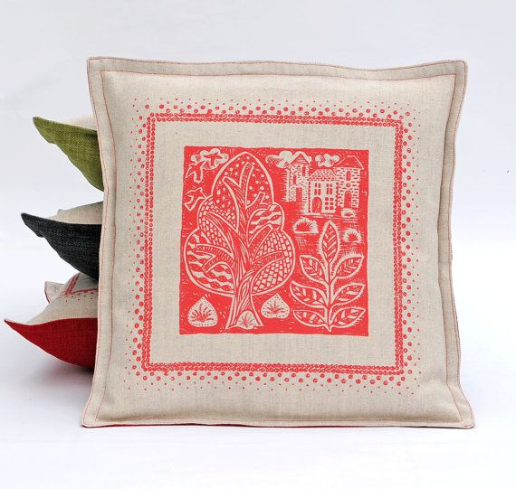 Red Folky Hand Printed cushion cover /Sale Pillow Cover/ Square ...