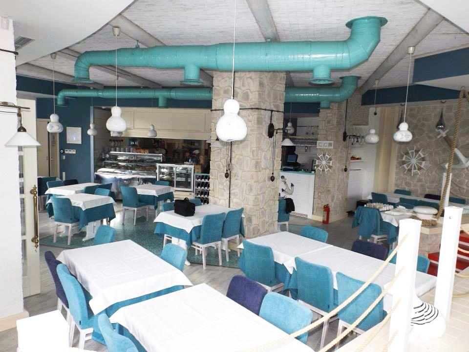 Restaurant interior design in blue and white fish