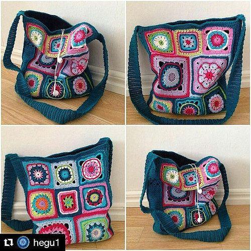 #Repost @hegu1 with @repostapp #virkaväska #virkadväska #crochetbag #grannysquares #mormorsrutor #flowergrannysquare #tildagarn #crochetmandala #grannysquaresrock #101nyaideer #adlibrisdiy #örgü #motif #pattern #design #çanta