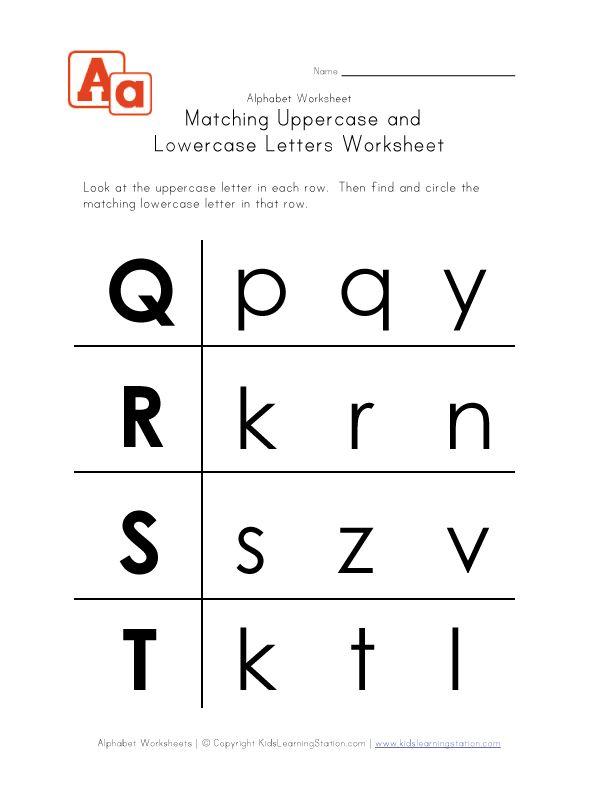 Letter Worksheets Uppercase And Lowercase Q R S And T Letter Worksheets Lower Case Letters Worksheets Preschool letter matching worksheet