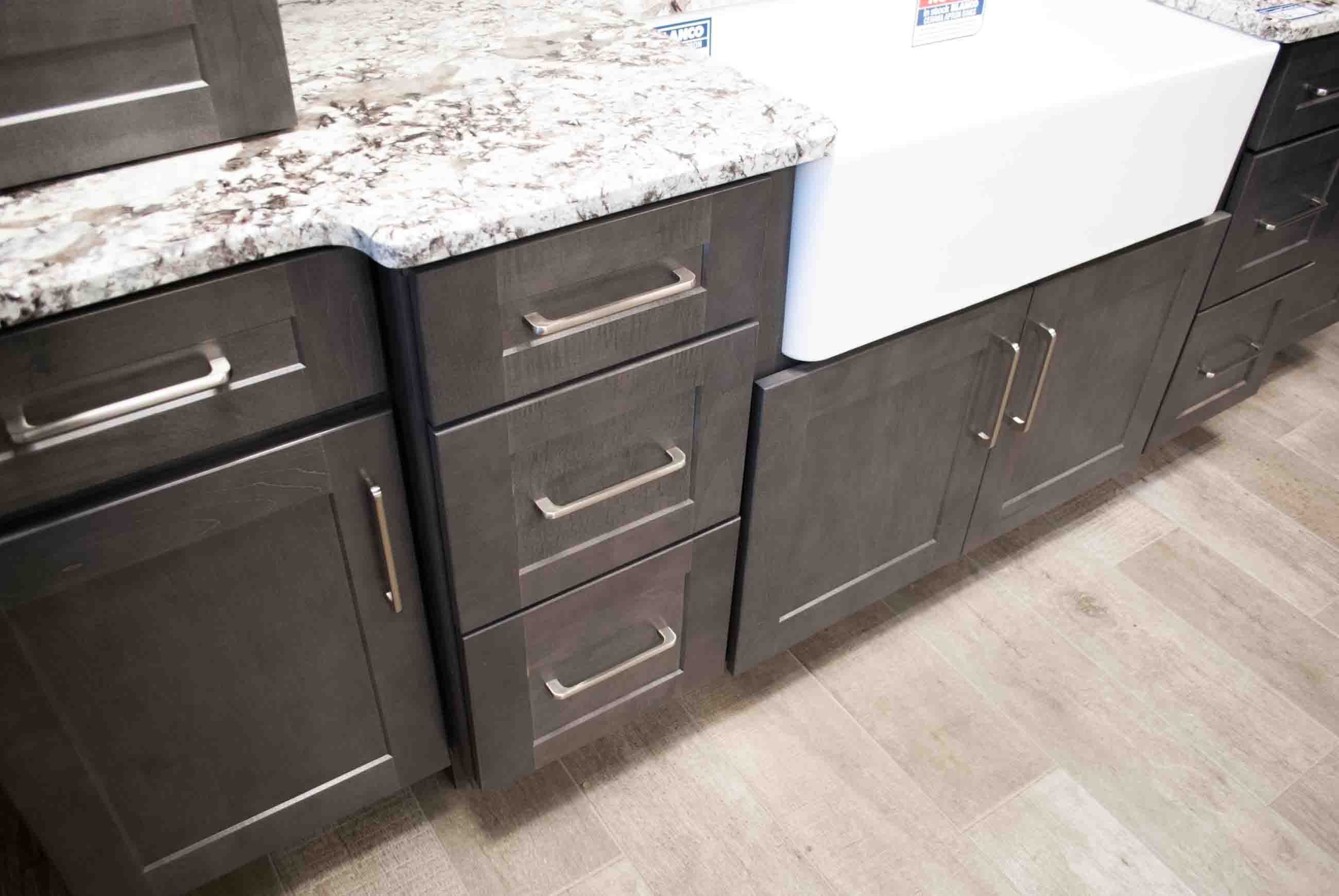 Jamestown Maple Slate Quick Ship Cabinetry And In Stock Jeffrey Alexander Alvar 160mm Satin Nickel Cabinet Hardware Available At Schi Cabinet Kitchen Cabinetry