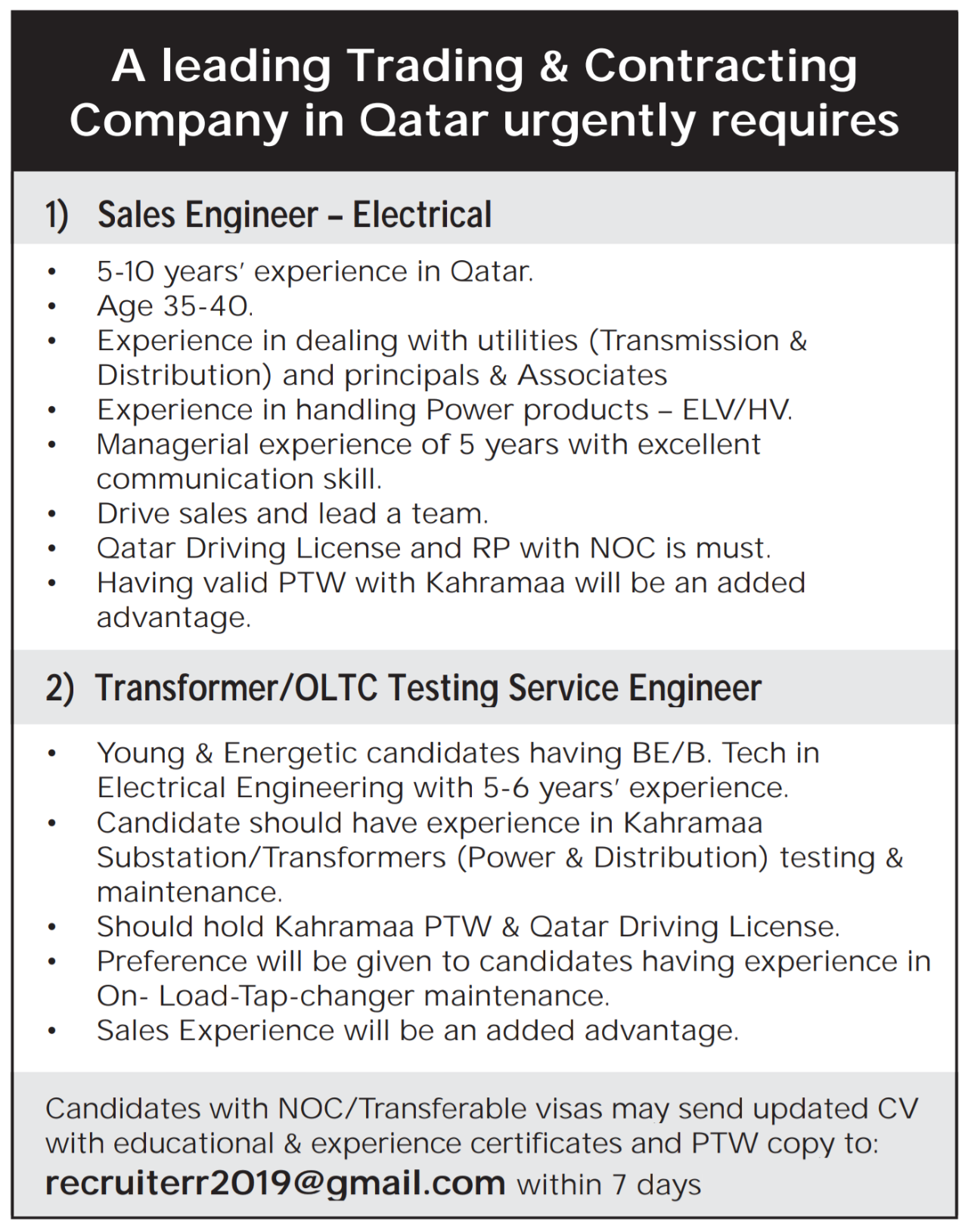 Multiple Engineering Job Openings Qatar | Qatar Jobs | Engineering