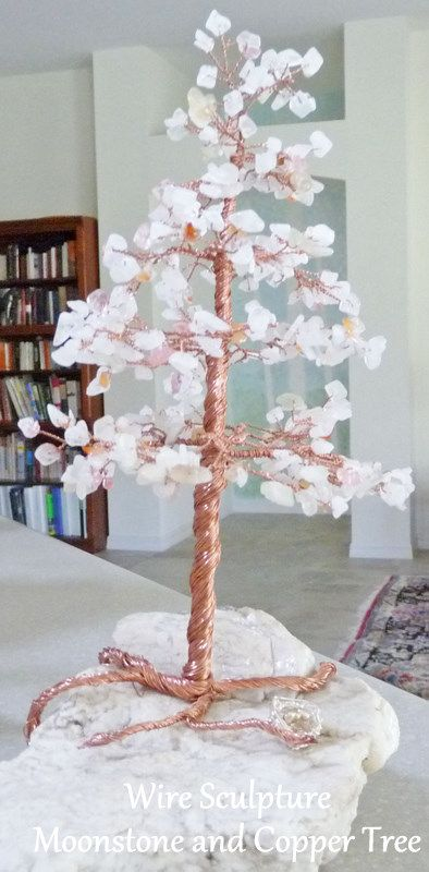 Moonstone and Copper #2 Wire Tree Sculpture   JewelryLessons.com